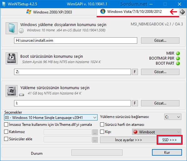 WinNt setup VHD (SSD) seçimi