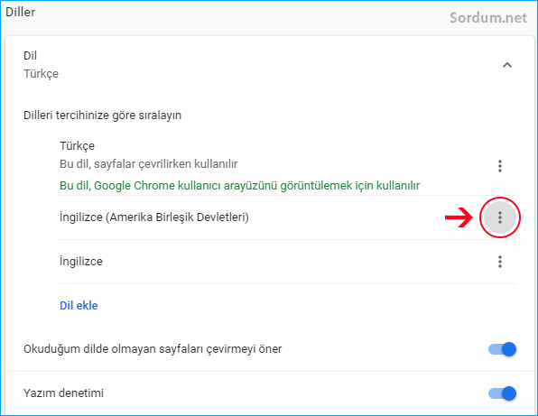 Chrome dil tercüme önerisi