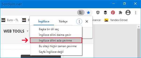 Chrome bu dili asla çevirme ayarı