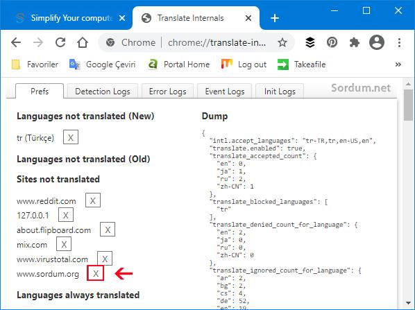 Chrome siteyi tercüme etsin ayarı