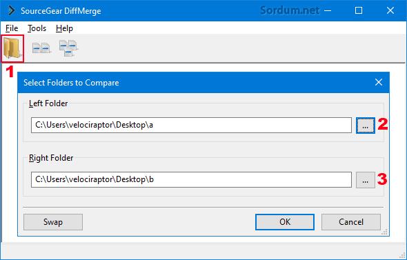 Diffmerge yazılımı ile klasör seçimi