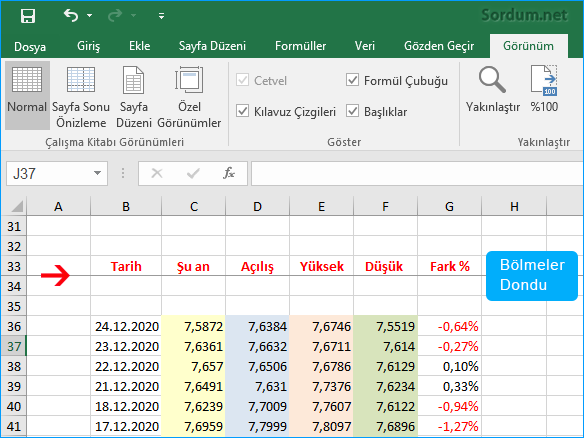 Excel bölmeler dondu