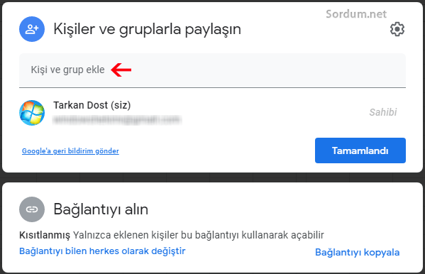 Google drive ile dosya paylaş