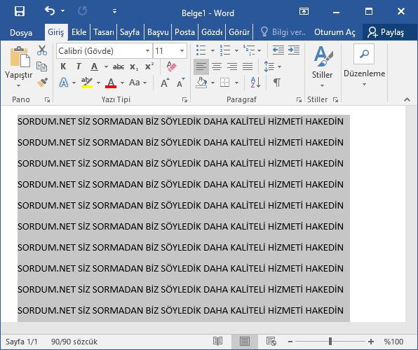 Microsoft Word ile büyük harfi küçüğe çevir