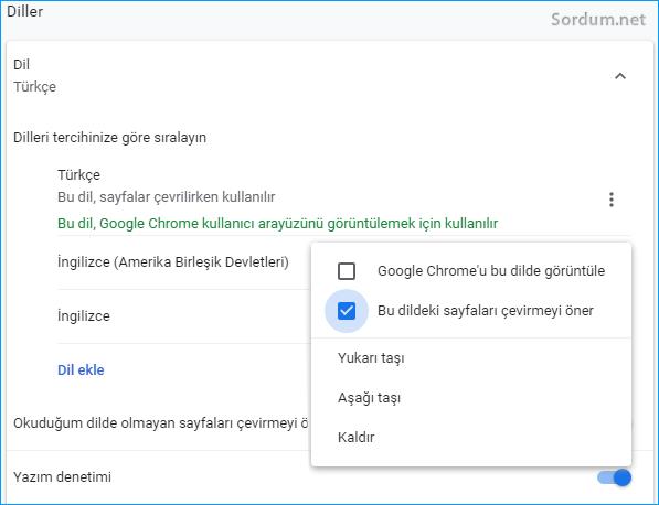 Chrome sayfaları tercüme etsin
