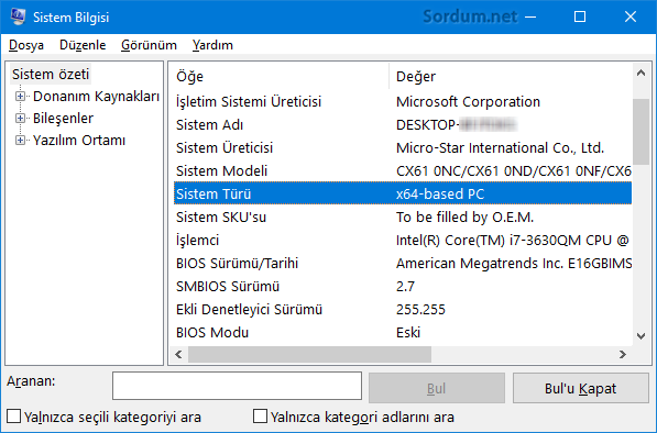 Sistem bilgisi yardımı ile işlemci ve windows un mimarisini bulun