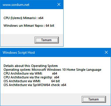 Vbs ile işlemci veya Windows kaç bit bulun