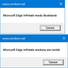 Vbscript ile Edge Inprivateyi yasakla
