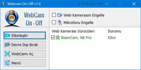 webcam on-off arayüzü