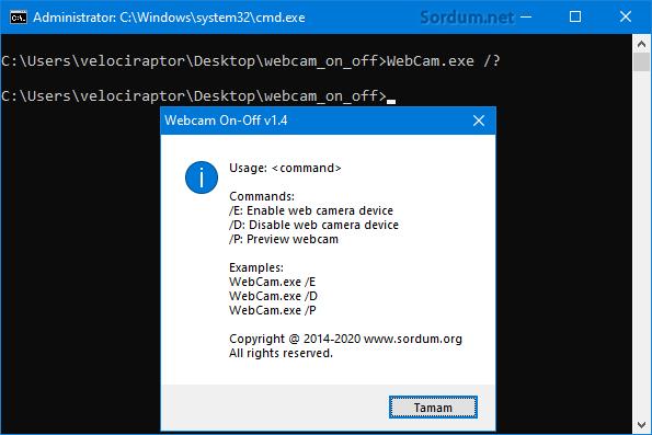 Webcam On-Off Cmd desteği