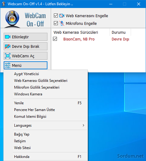 WebCam ve Mikrofon engellendi