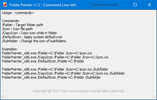 Folder painter cmd desteği
