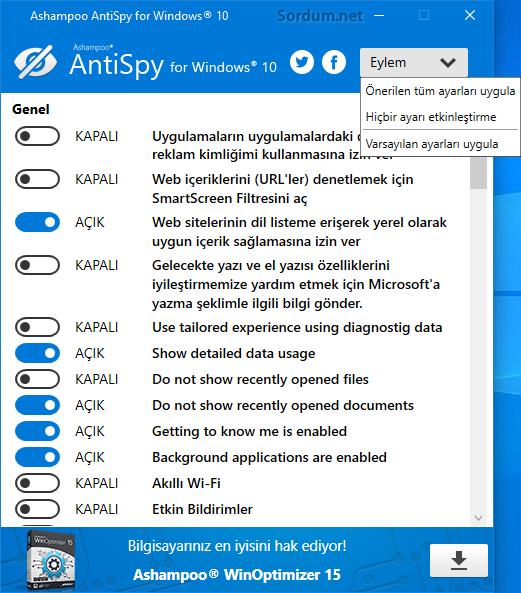 Ashampoo Antispy varsayılan ayarlar