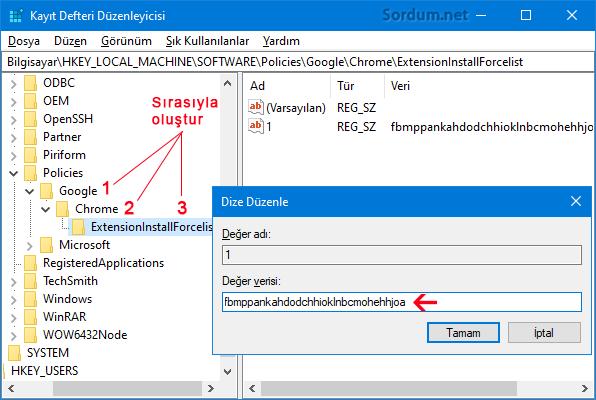 Chromede eklentiler kaldırılmasın registry kaydı