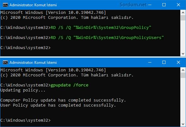 Cm dile Gpedit.msc ayarlarını güncelle