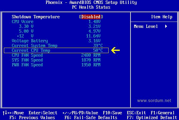 biosta işlemci ısısı