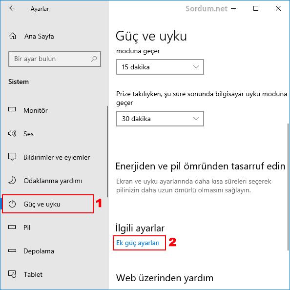 Windows 10 Ek güç ayarları