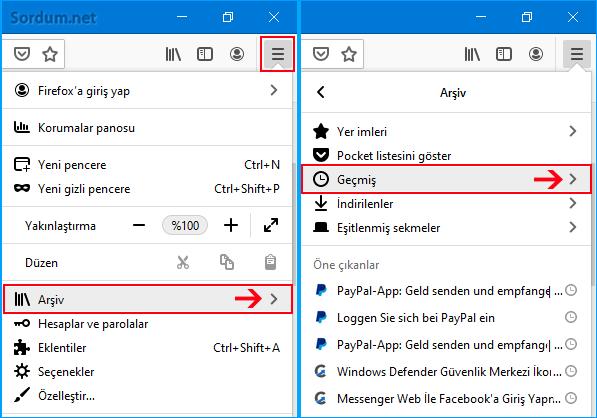 Firefox Geçmiş özelliği