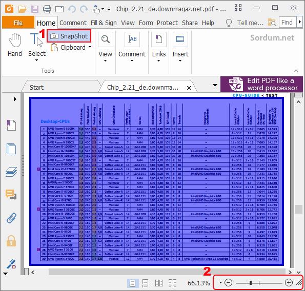 Foxit readerde tam sayfa ekran görüntüsü alın