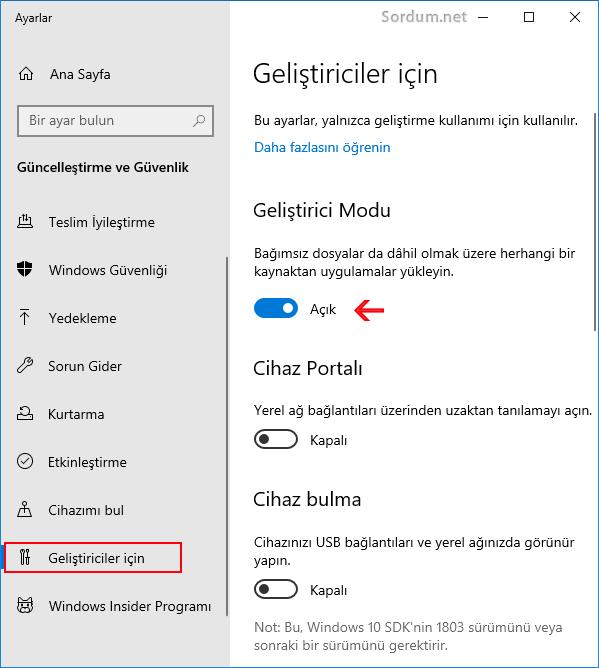 Windows 10 daki geliştirici modu