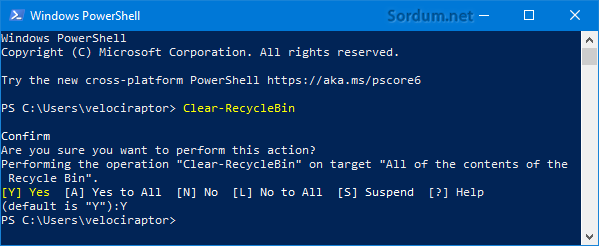 Geri dönüşüm kutusunu temizleyen Powershell kodları