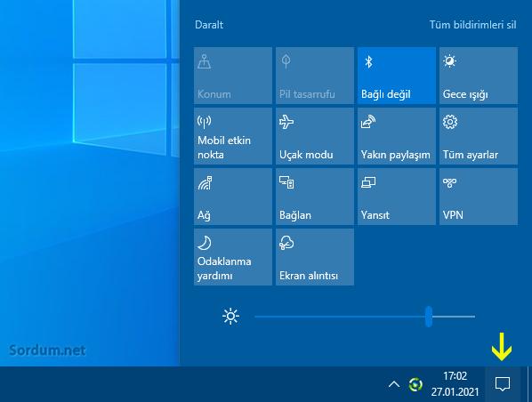 Windows 10 İşlem merkezi