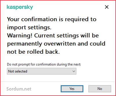 Kaspersky içe aktarma uyarısı