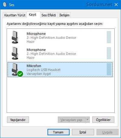 Mikrofon özellikleri penceresi