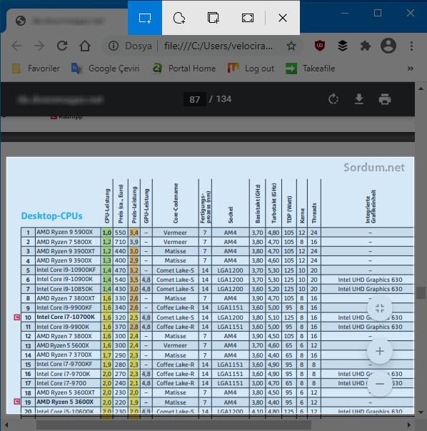 Chromede ekran alıntısı aracı
