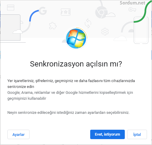 Chromede senkronizasyonu aç