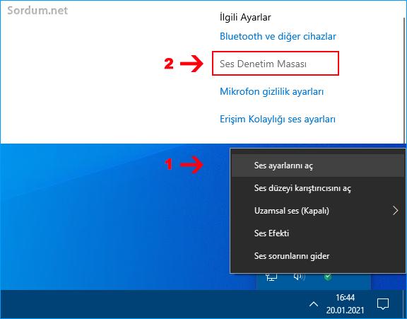 Windows 10 da ses ayarları nasıl açılır
