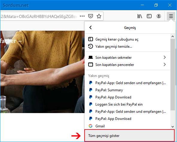 Firefox Tüm geçmişi Göster
