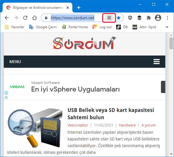 Google chrome sayfa QR kodu