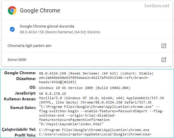 Google chrome sürüm numarası nasıl bulunur