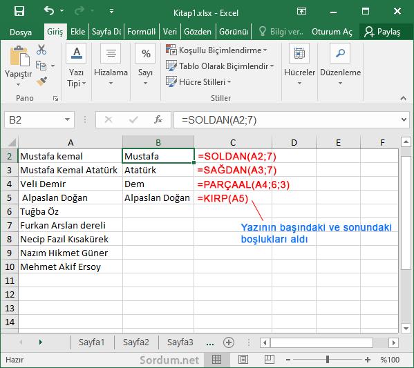 Excel de sağdan , soldan , Parça al formülleri
