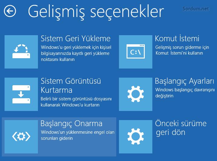 Windows 10 gelişmiş seçenekler