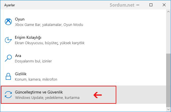 Windows 10 da güncelleştirme ve güvenlik