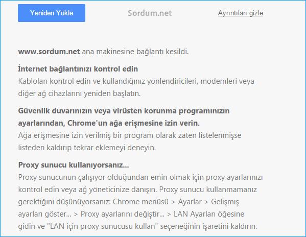 Web sitesine bağlanmıyor hata ayrıntıları