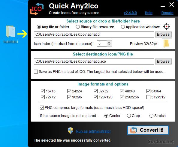 quick any2ico yazılım arayüzü