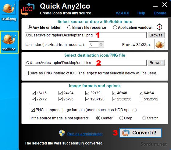 quickany2ico ile resimden ikon yap