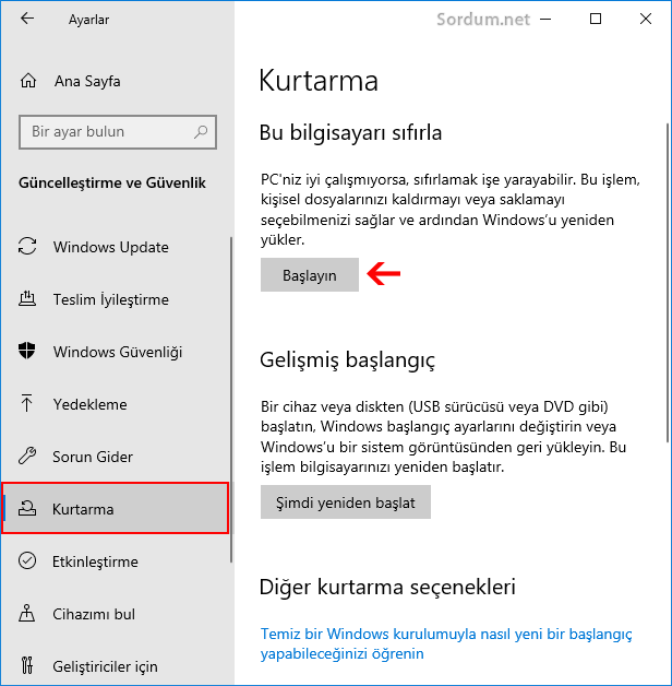 Windows 10 Kurtarma