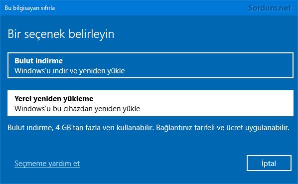 Windowsu yerel olarak yeniden yükle