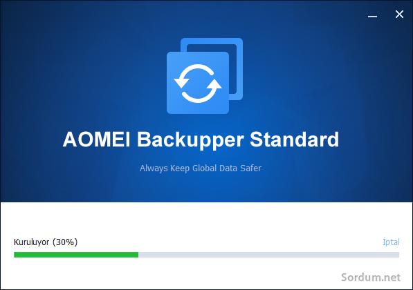 Aomei backupper ilk kurulum ekranı