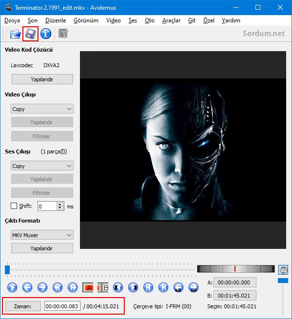 Avidemux ile birleştirilen videoyu kaydet
