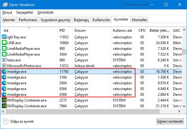 Microsoft EDGE geri planda çalışıyor