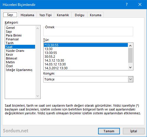 Excel saat toplamı hatası