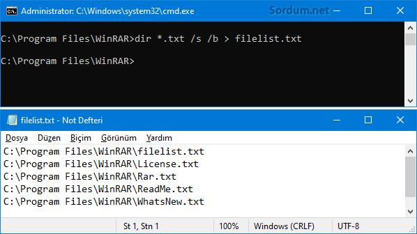 Klaösrdeki txt dosyaları listelensin
