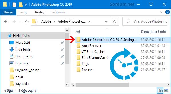 Photoshop ayarlar klasörü