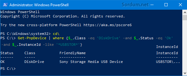 Powershell de takılı USB aygıtın bul