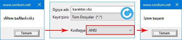 VBS de Türkçe karakterler Bozuk